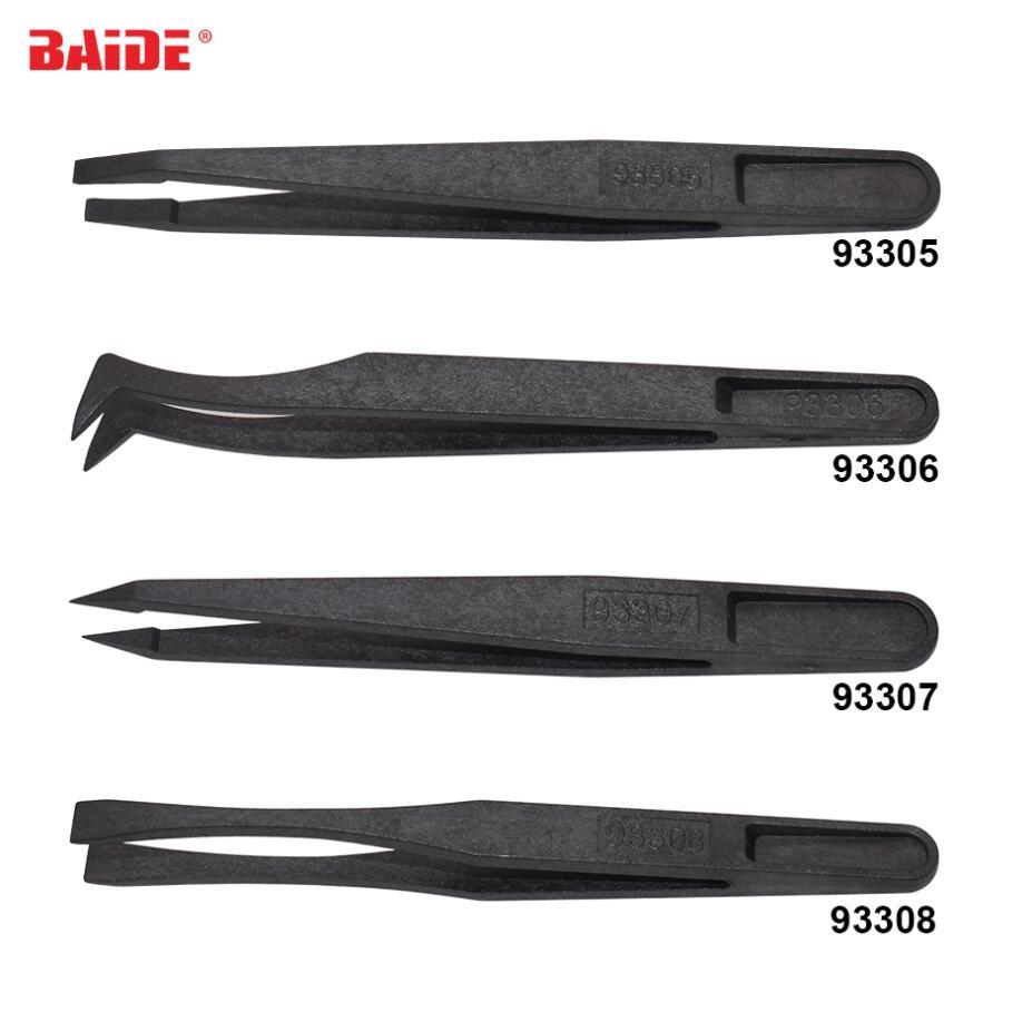 500pcs lot Wholesale 93301 Black ESD Tweezers Set Plastic Anti Static Electronic Tweezers Anti static Forceps