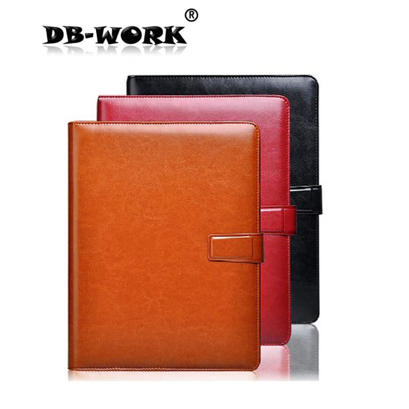 2018 A4 sheet clip high-end business manager folder with pen and calculator loose leaf note book 2018 a4 leather business manager folder beige inner core with pen bag can be customized with calculator data storage