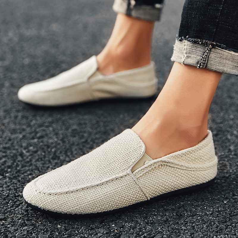 PUPUDA New Loafers Men Breathable Casual Shoes Classic Linen Slip On Sneakers Male Summer Cheap Driving Shoes For Men Wide 2019
