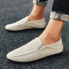 PUPUDA New Loafers Men Breathable Casual Shoes Classic Linen