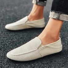 حذاء بدون كعب جديد للرجال من PUPUDA حذاء كلاسيكي غير رسمي يسمح بمرور الهواء مصنوع من الكتان سهل الارتداء حذاء رياضي صيفي للرجال رخيص الثمن مناسب للقيادة بمقاس واسع موديل 2020