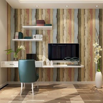 American imitation wood to do the old paint retro wallpaper bedroom living room TV wall vertical striped wallpaper