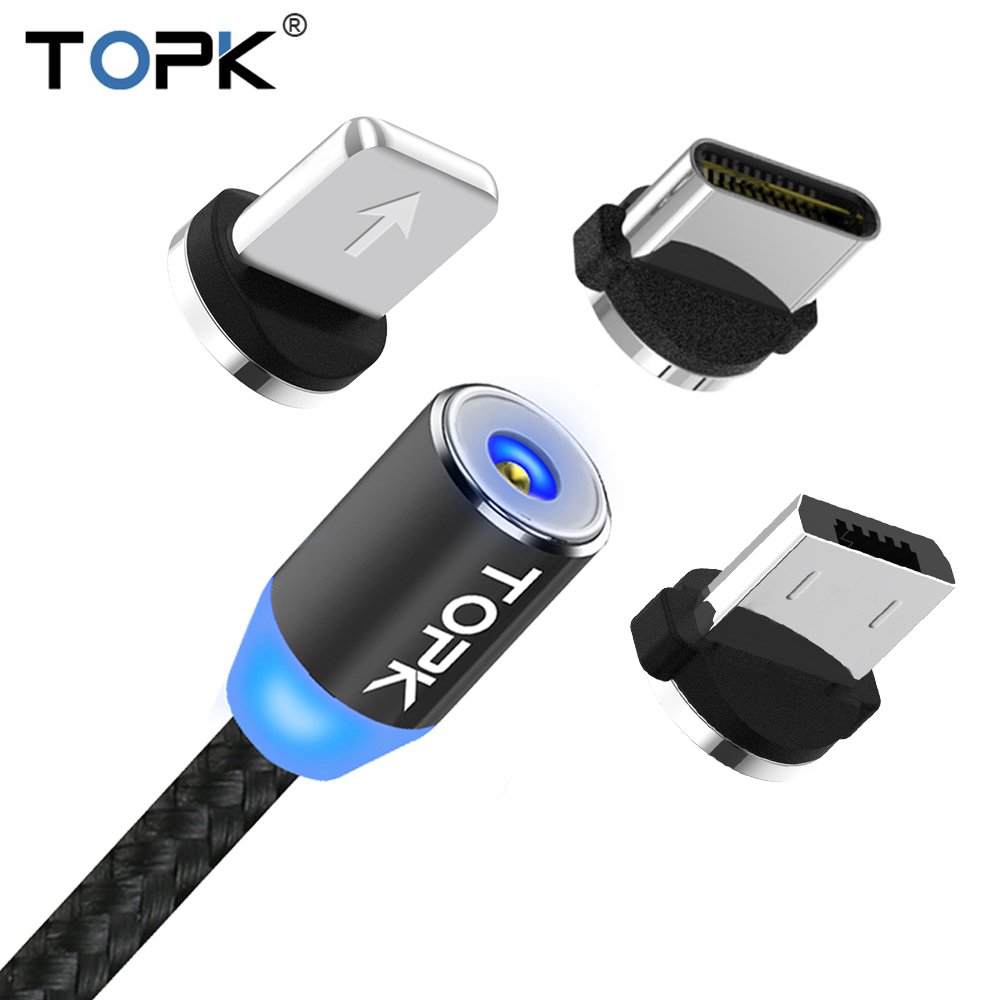 TOPK AM23 LED Magnetic Micro USB Cable USB C Cable For Samsung Xiaomi Huawei Android