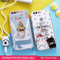 Huawei Honor 8 Holder Case TPU PC Vpower 3d Relief Cartoon Holder Back Cover Case For