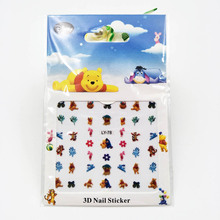 6pcs/bag Nails Stickers Winnie the Pooh Frozen Sophia Mickey Mouse Cartoon Princess for nails Water Transfer Sticker De
