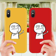Funny Personality Middle finger man TPU Soft Case For iPhone XS MAX 7 8 6S 6 Plus Couple XR X Cute Cartoon Cat