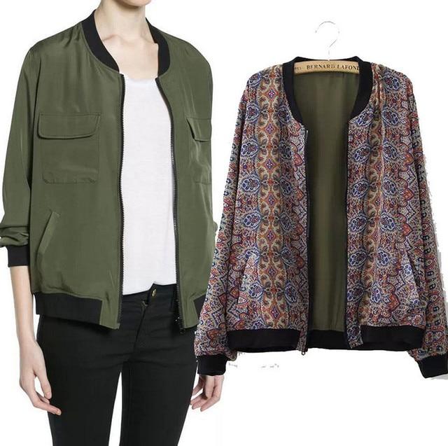 Printemps Blouson Femmes Vert Militaire Veste 2015 Nouveau Design De Mode Solide Impression des Deux Côtés Porter Solide Floral Chaqueta Mujer