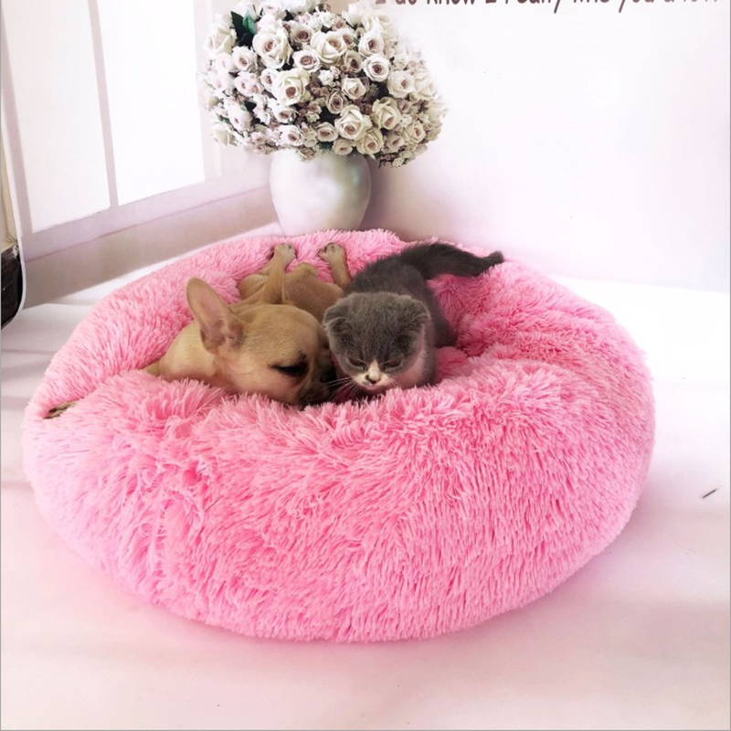 Dog bed warm cat kennel washable pet soft cat dog pad warm indoor round pillow small and medium dog artificial fur dog house image