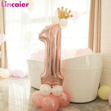 First Birthday Boy Girl Party Rose Gold Column Balloon Happy Birthday Decoration My One Year 1st Birthday Supplies Kids Adult(China)