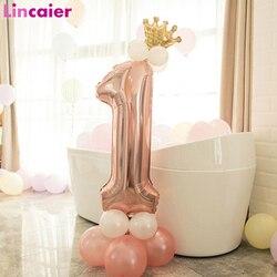 First Birthday Boy Girl Party Rose Gold Column Balloon Happy Birthday Decoration My One Year 1st Birthday Supplies Kids Adult