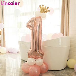 First Birthday Boy Girl Party Rose Gold Column Balloon Happy Birthday Decoration My One Year 1st Birthday Supplies Kids Adult