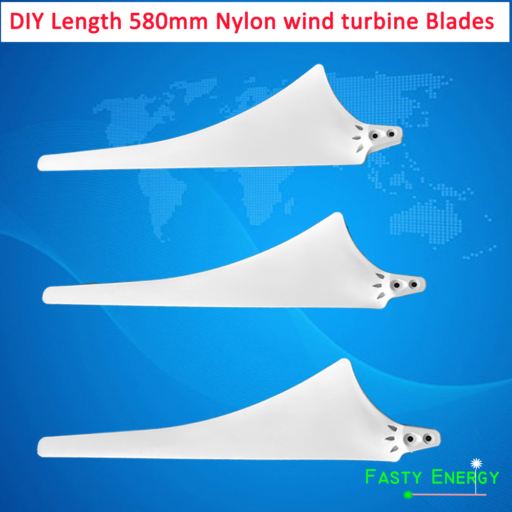 Cheap 580mm high strength Nylon blades for horizontal wind turbine 600w DIY blades for wind generator hub and hood option