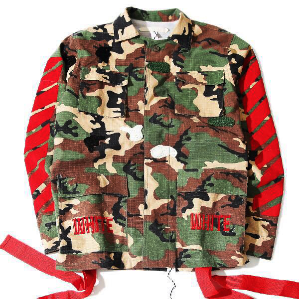 d9f0a72c1564 2017 new arrive fashion brand men kanye west Off White Virgil Abloh jackets  camouflage red stripe 13 badge windbreaker-in Jackets from Men s Clothing  on ...