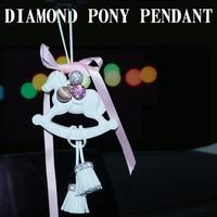 Pony Pendant Ornaments Hanging Crystal Diamond Tassel Mirror Rearview Decoration Diamante Pony Horse Auto Interior Accessories