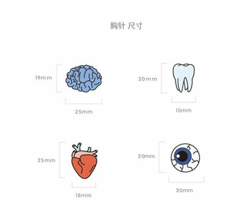 Sexe Mara Gaya Korea Gaya Perhiasan Warna Tetes Tubuh Manusia Bros Otak Mata Gigi Bros Aksesoris Grosir Pin Lencana