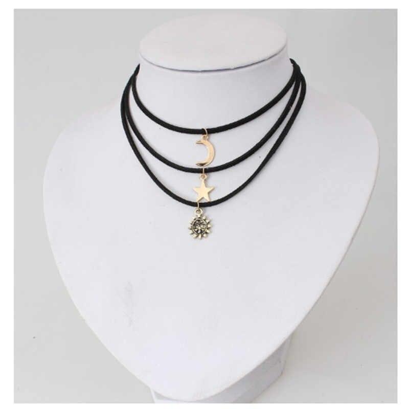 Collier pendentif en cristal multicouche Vintage GERUISHA femmes couleur or perles lune étoile corne de soleil croissant de cou colliers bijoux