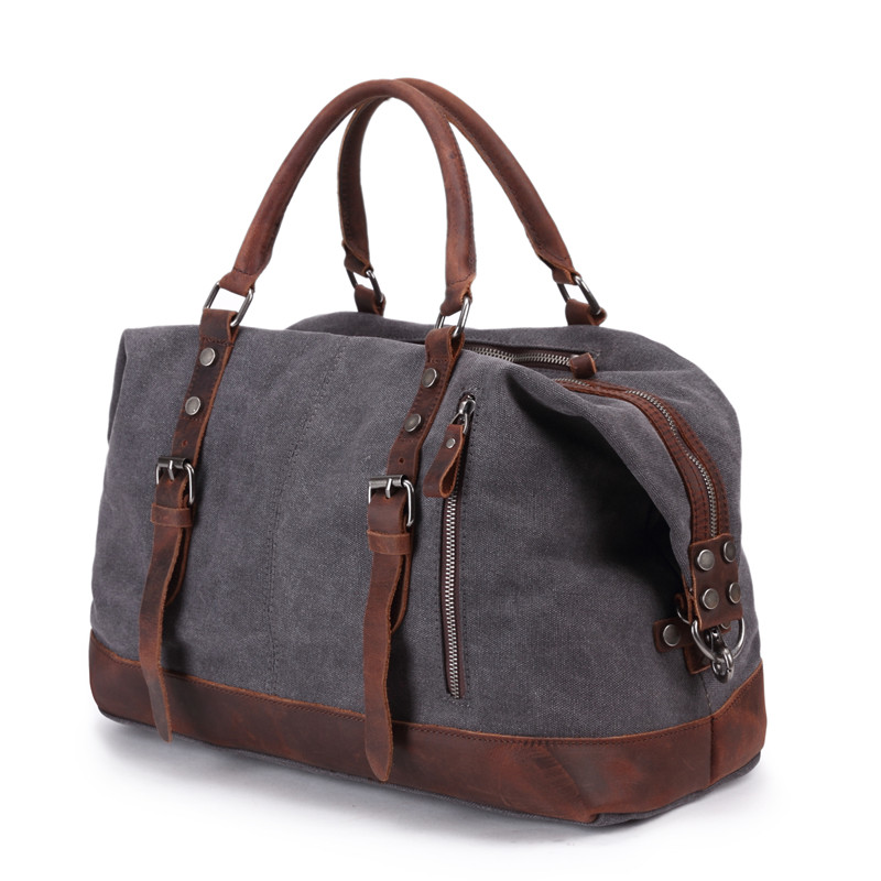 Men's Travel Bags Vintage Leather Canvas Carry on Luggage Bags Big Men Duffel Bags Travel Tote Large Weekend Bag Overnight-in Travel Bags from Luggage & Bags    3
