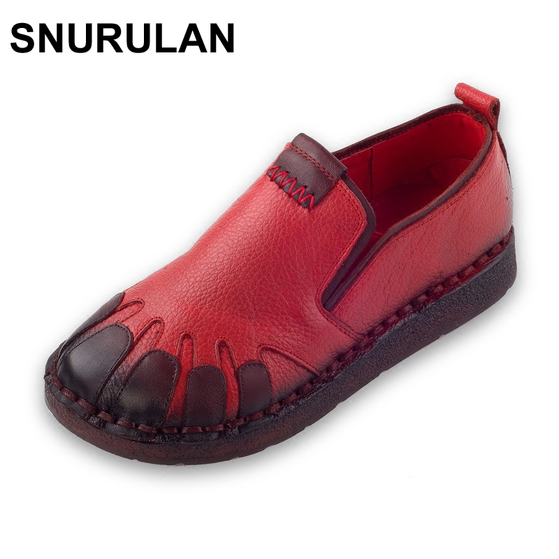 SNURULAN Style Genuine Leather Women Flat Shoes Round Toe Woman Casual Loafers Fashion Handmade Women Shoes & Flats 2016 new fashion women flats women genuine leather flat shoes female round toe casual work shoes women shoes