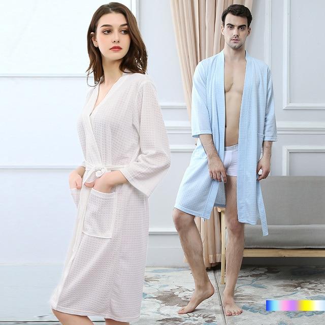 e96b5ab158 Lovers Plus Size Suck Sweat Towel Bathrobe Women Summer Sexy Waffle Kimono  Bath Robe Men Femme