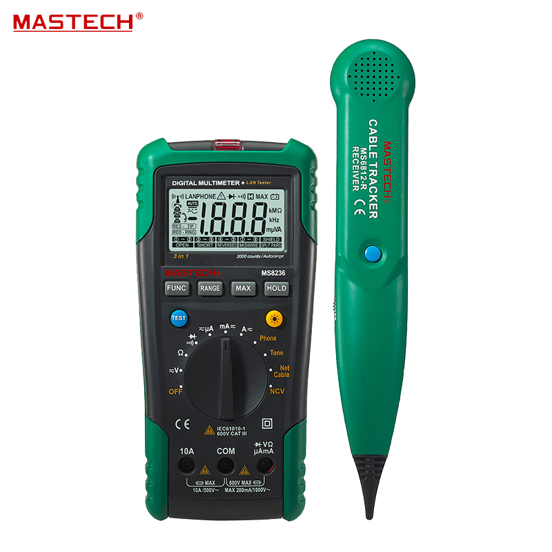 цены  Digital Auto Range Multimeter LAN Tester Net Cable Tracker Tone Telephone line Check Non-contact Voltage Detect MASTECH MS8236