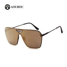 AOUBOU Original Brand One Lens Sunglasses Men Alloy Vintage Oversized Tinted Mirror Sun Glasses For Women Gafas Do Sol 7104