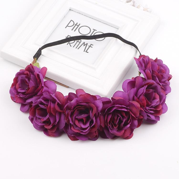 Handmade Rose Flower Headband Woman Girls Flower Headwear Wedding Party Bride Flower Crowns Hair Accessories Christmas gift