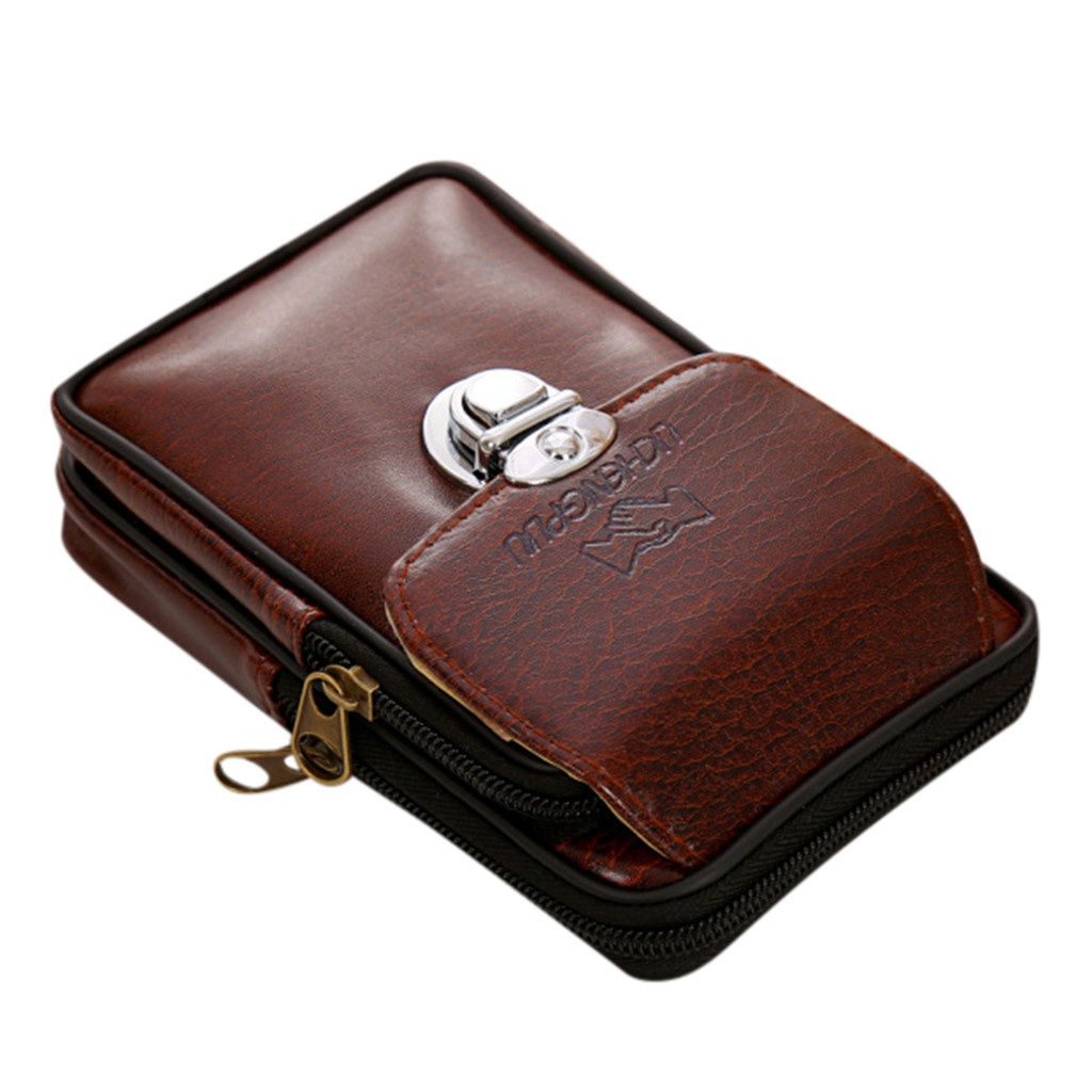 Large Capacity Men Leather Cowhide Vintage Travel Cell/Mobile Phone Hip Bum Belt Pouch Fanny Pack Waist Purse Bag Chest Pouch