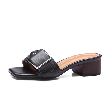 Genuine Leather Slippers Women Summer Slippes Female Low Heel Top Quality