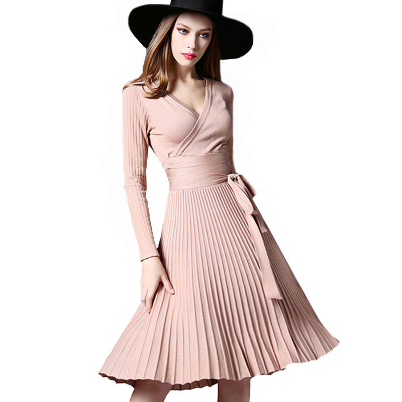 Fashion High Quality Elegant Winter Dress 2018 Office Dresses For Women Decorative Sashes V-Neck Solid Plus Size Vintage