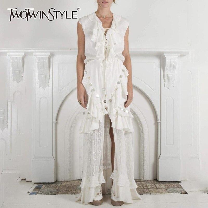 TWOTWINSTYLE Summer Sleeveless Women Dress V Neck High Waist Hollow Out Ruffles Bandage Split Maxi Dresses
