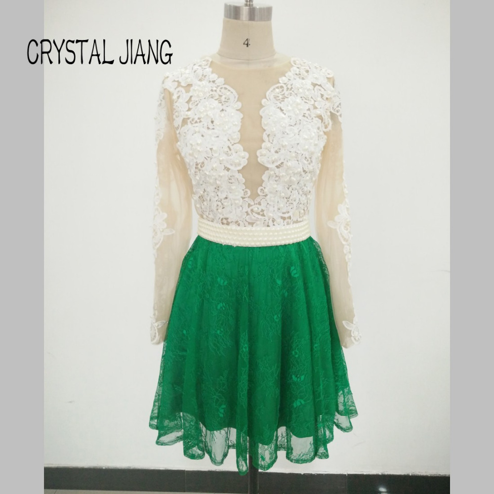 Real Pictures 2016 See Through Lace Applique Pearl Beaded Green Lace Custom made Long sleeves Short Mini   Cocktail     Dresses