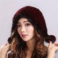 Venta caliente de Piel de Visón Rongqiu Gorros Cálido y cómodo color Sólido Espesar Mujer Gorro de Invierno de Punto de Visón Real Sombrero De Piel # H9021