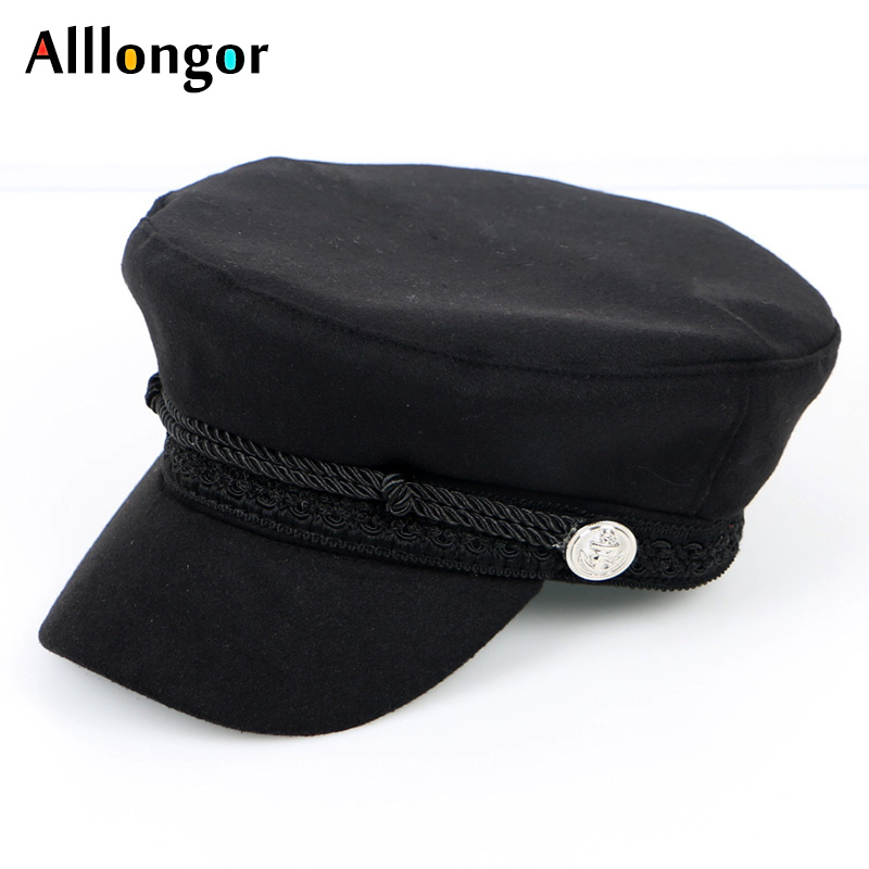 Autumn 2021 Newsboy Caps Octagonal Hats for Women Gorras mujer Military Hat berets Femme Black Vintage Black Cotton Chapeau