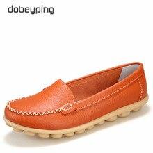 Casual Schuhe Frauen Weiche Echtes Leder frauen Müßiggänger Slip Auf frau Wohnungen Schuh Niedrigen Ferse Mokassins Schuhe Große größe 35 42