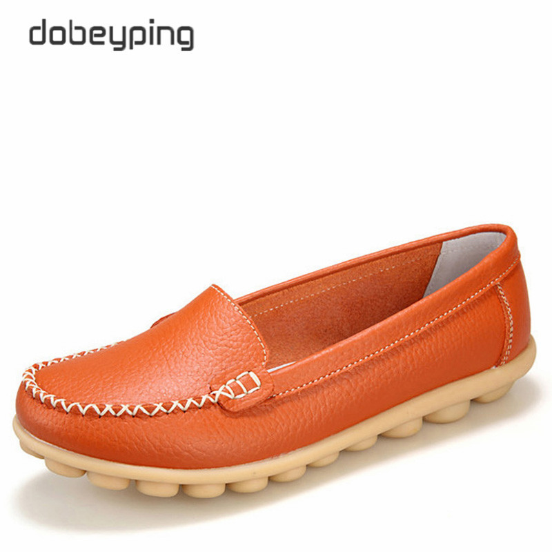 Casual Shoes Women Soft Genuine Leather Women's Loafers Slip On Woman's Flats Shoe Low Heel Moccasins Footwear Large Size 35-42