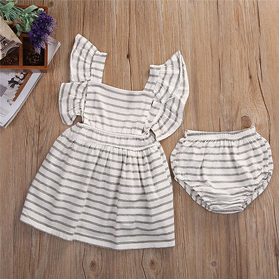 2pcsNewborn-Baby-Girl-Dress-Infant-Striped-Fly-Sleeve-Bowknot-DressShorts-Bottom-Clothes-Outfit-1