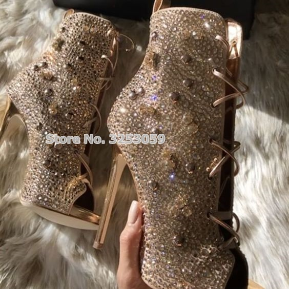 ALMUDENA Bling Bling Stiletto Thin High Heel Boots Peep Toe Crystal Sandal Boots Glitter Rhinestone Lace-up Short Ankle Booties gorgeous silvery women bling bling crystal stiletto heel ankle boots glittering peep toe booties lace up dress sandals hot sell