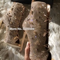 ALMUDENA Bling Bling Stiletto Thin High Heel Boots Peep Toe Crystal Sandal Boots Glitter Rhinestone Lace up Short Ankle Booties