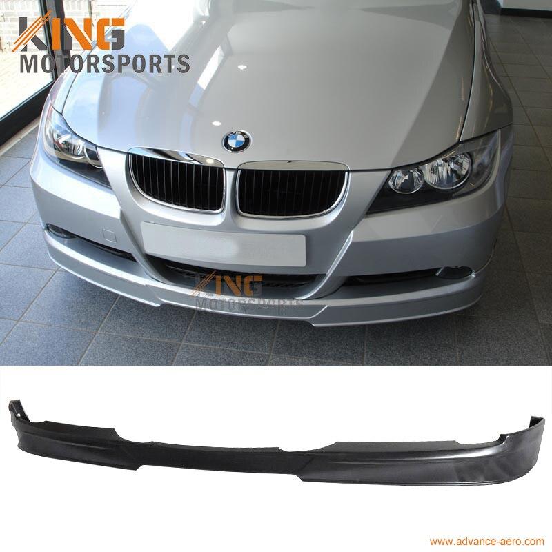 New PU Polyurethane Front Bumper Lip Spoiler For BMW E90 3-Series 325 328 330 335 Sedan 4-Door 2006-2008 2007 A Style Unpainted Black Under Chin Spoiler Body Kit