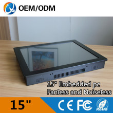 Fanless and noiseless 15″ industrial PC touch screen pc Resolution 1024×768 with J1900 1.99GHz cpu 2GB DDR3 32G SSD