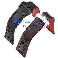Pulsera de cuero 22mm Correa de piel Genuina correa de reloj para relojes de pulsera Negro Hombres Reloj de pulsera accesorios