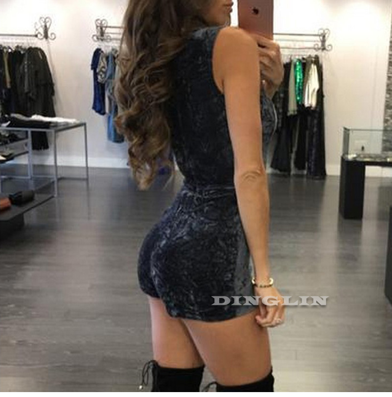 e2c1d30b547 GZDL Plunge V Neck Sexy Women Skinny Romper Playsuit Velvet ...