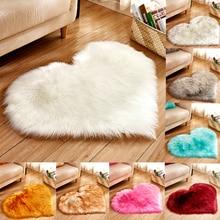 купить Love Heart Solid Carpet Faux Fur Imitation Wool Rug Floor Area Rugs Artificial Sheepskin Shaggy Carpets For Living Room Bedroom по цене 326.69 рублей