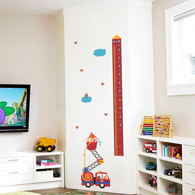 Животные пожарная машина измерения высоты наклейки на стену для детей комнаты роста диаграммы домашний декор двери ПВХ настенное украшение Искусство Наклейки