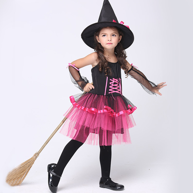 baby girls dress halloween cosplay costume geometric cap witch children cosplay dresses kids clothes costumes menina - Baby Witch Costumes Halloween