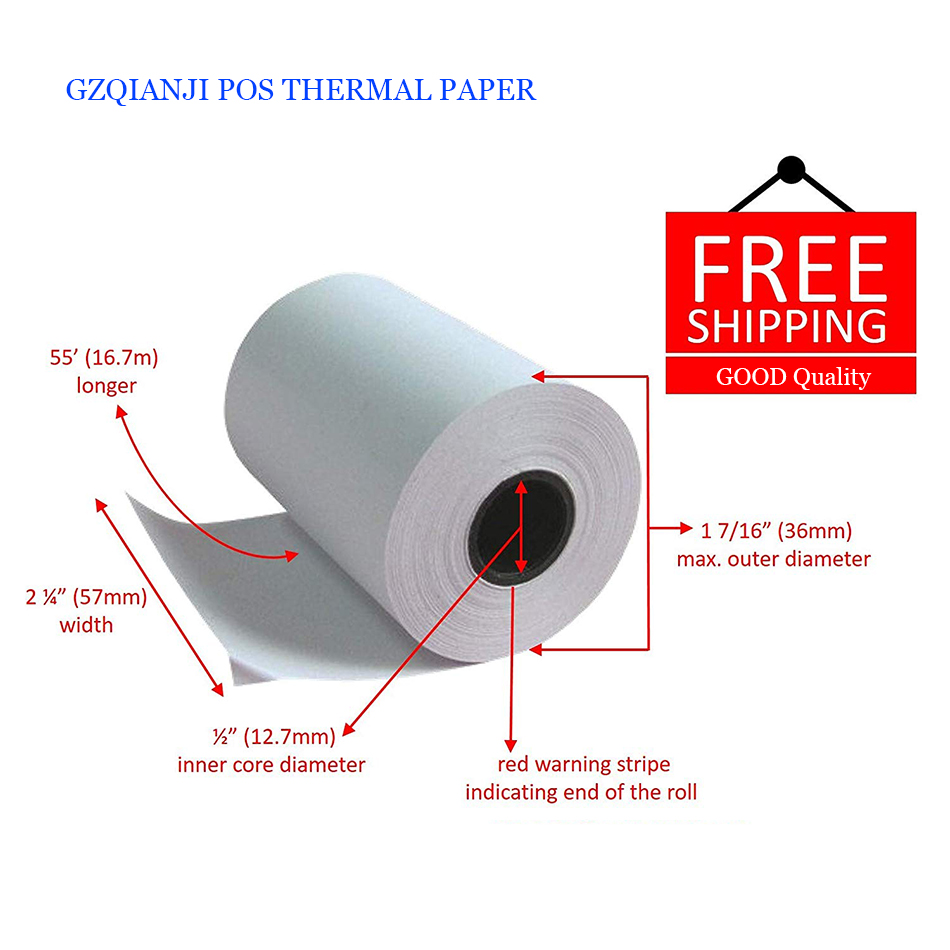 US $21 0 |20 Rolls Heat sensitive Paper Pos Machine Paper 57x30mm 57*40mm  57*50mm Cash POS Paper Small Ticket Roll Paper For mini TP-in Printers from