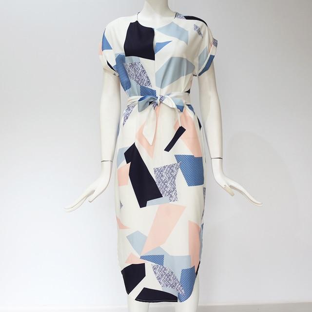 Geometric Print Beach Dress Elegant Party Dresses with Belt Vestidos de fiesta Plus Size XXXL 5