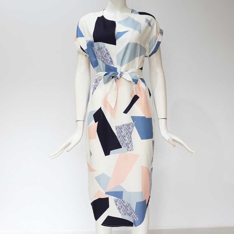 Летнее платье 2019 женское бохо стиль геометрический принт элегантные пляжные платья с поясом плюс размер