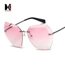 SHAUNA De Luxe Femmes Diamant en forme de lunettes de Soleil Marque Designer  Dames Sans Monture Gradient Lentille Lunettes 25ab2899a21c