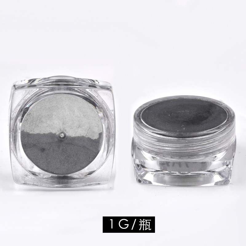1G BOX Holographic Magic Mirror Black Nail Glitter Powder Shining Chrome Pigment Dust DIY Nail Art Decorations in Nail Glitter from Beauty Health